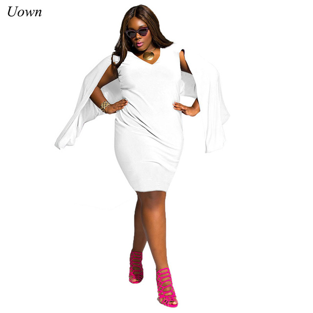a4eef1734a Trendy Cloak Sleeve Plus Size Midi Dress Sexy Women Club Cocktail Party  Dress Ladies Summer Knee
