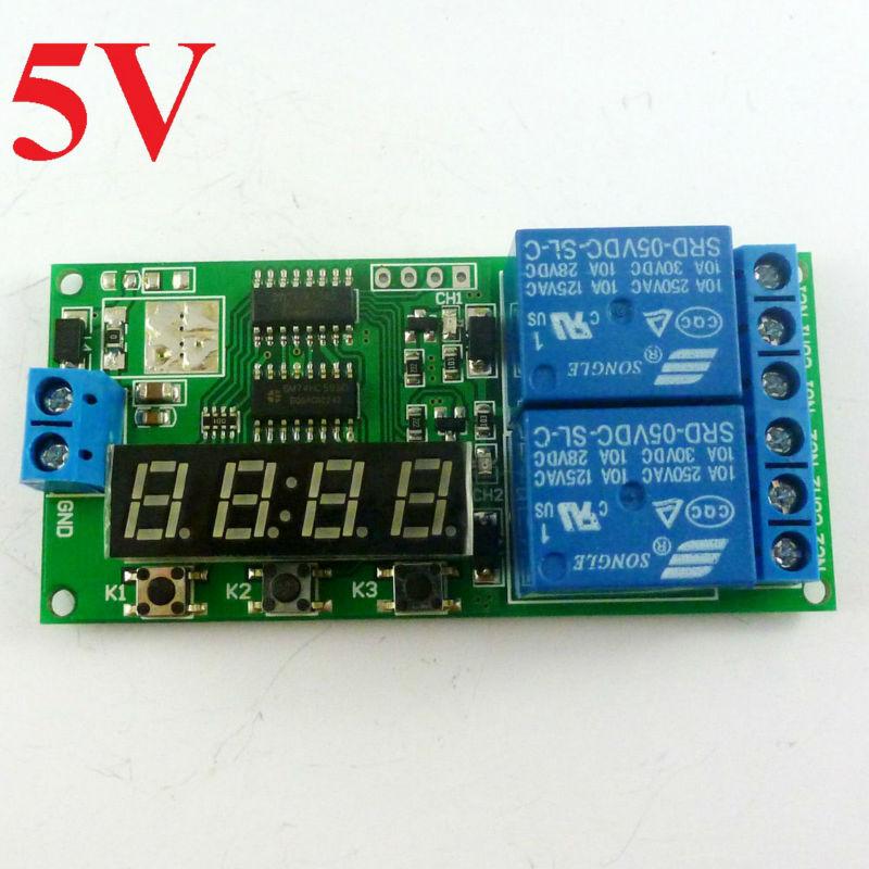12 V DC 2 canaux Delay Timer relais Module Multifonctions Contrôleur réversible