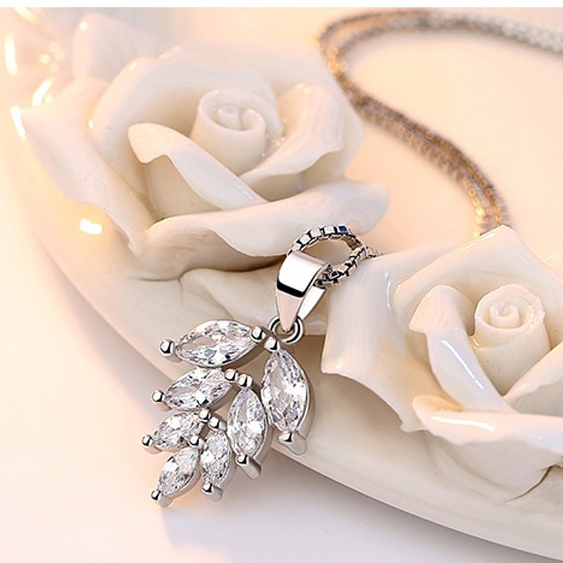 silver zircon pendants necklaces (3)