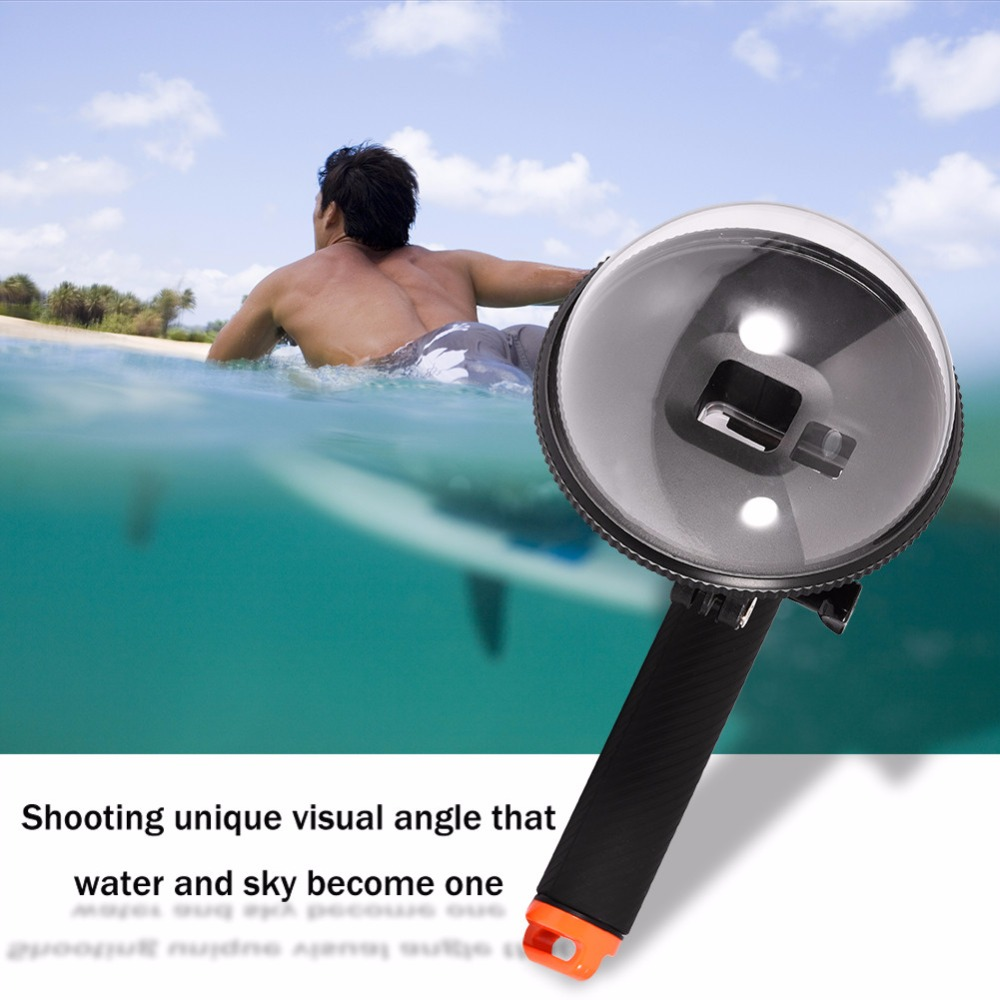 Diving Action Camera Housing Lens Dome Port with Floaty Handle & Trigger for Gopro Hero 5