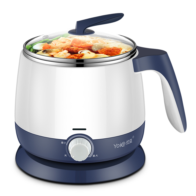 WUXEY Multifunctional Electric Cooker Blue Food Steamer Student Dorm Cooking Instant Noodles Electric Hot Pot 1.8L Mini Wok homeleader 7 in 1 multi use pressure cooker stainless instant pressure led pot digital electric multicooker slow rice soup fogao