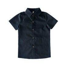 Г. Летняя рубашка для мальчиков; модные детские хлопковые однотонные рубашки с короткими рукавами для мальчиков; Детские официальные рубашки для свадебной вечеринки; красивая одежда