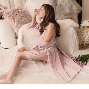Image 4 - Sexy Bruidsmeisje Korte Satijnen Bruid Robe Lace Kimono Vrouwen Nachtkleding Zomer Vrouwelijke Badjas Lingerie Kleding Thuis Gewoon Een Gewaad