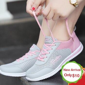 Dropshipping sapatos femininos tênis de verão branco cesta femme super leve vulcanizado sapatos femininos tênis de malha feminina casual sapato