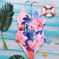 INGAGA 2018 New One Piece Swimsuit Female Floral Printed Swimwear Women Strap Padded Bathing Suits Summer