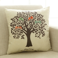 Tree Pattern Cushion Square Decorative Pillow For Bed Sofa Simple And Brief Cheap Cotton Linen Comfortable