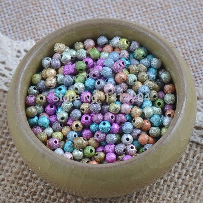 Смешанный Цвет Stardust Акриловые круглые шарики прокладки для украшения ручной работы 1500 шт. 4 мм ykl0239-4