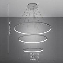 Современный Белый Акрил LED 3 Кольца Подвесной Светильник Подвесной Светильник для Гостиной Столовая Подвесной Светильник