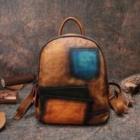 Панелями Для женщин сумка из натуральной кожи ручной работы Для женщин рюкзак 2018 высокое Ёмкость школы Для мужчин рюкзак унисекс Notebok сумки