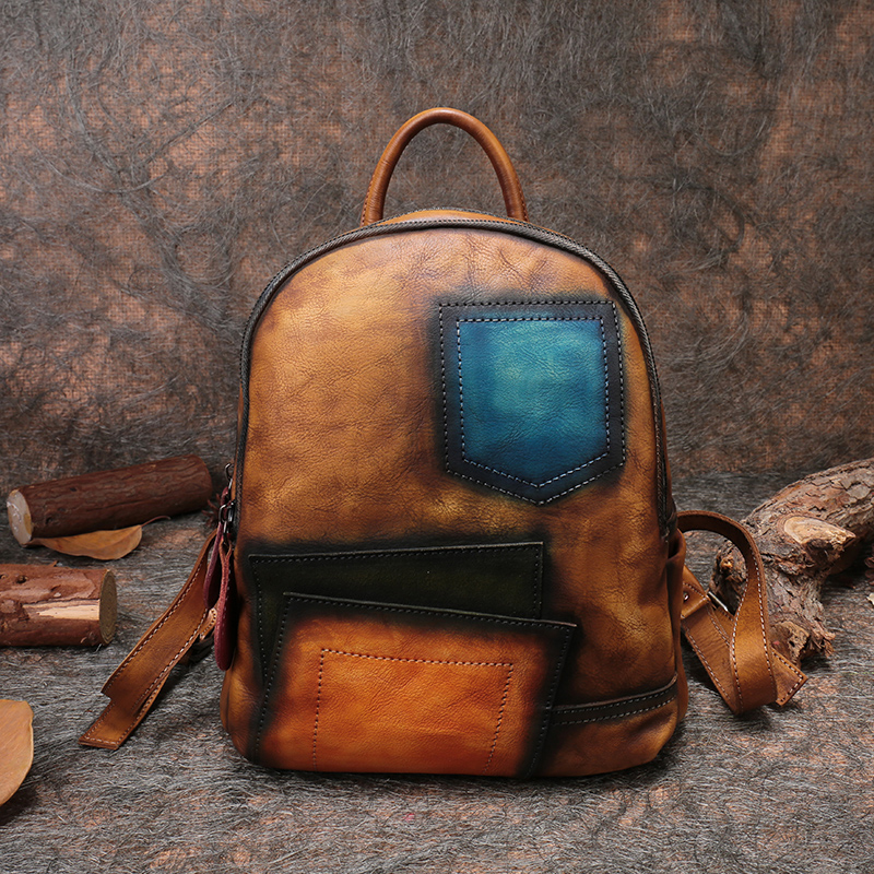 Panelled Women Shoulder Bag <font><b>Genuine</b></font> Handmade <font><b>Leather</b></font> Women <font><b>Backpack</b></font> 2019 High Capacity School Men <font><b>Backpack</b></font> <font><b>Unisex</b></font> Notebok Bags image