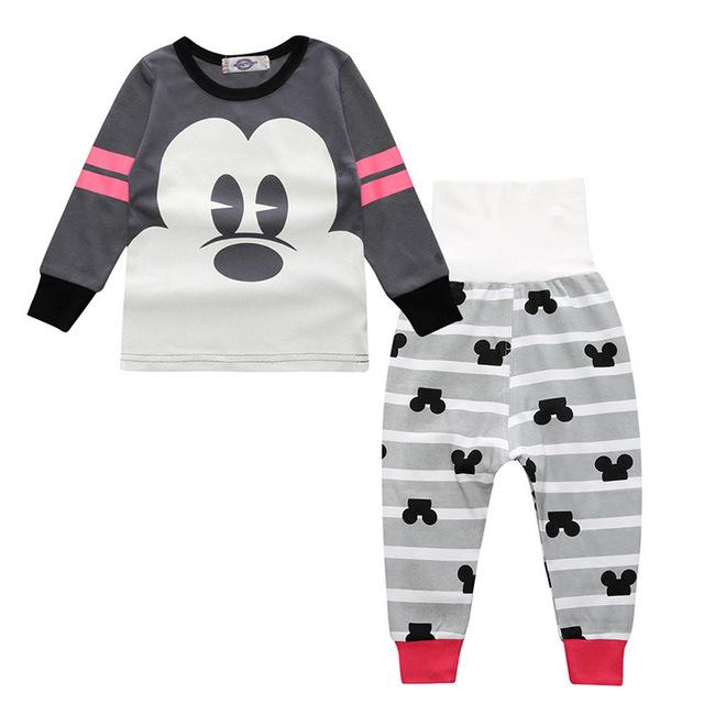 Conjuntos de Ropa para niños Niños Chicas Camiseta Pantalones lindo Minnie Bebé Recién Nacido Niños niñas Ropa Fijada Algodón Roupa Bebes