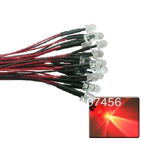 50pcs 10mm Red LED Lamp Light Set 20cm Pre-Wired 12V Free Shipping