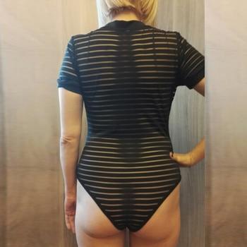 Viifaa Sexy Black Bodysuit Women See-Through Mesh Bodycon Bodys Transparent Body Femme Night Out Summer Party Bodysuits 4