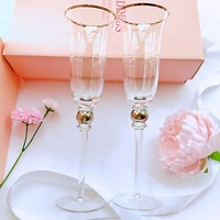 2pcs Crystal champagne glasses high quality wine cup goblet wine glass carving glass cup wedding Gift box glass set