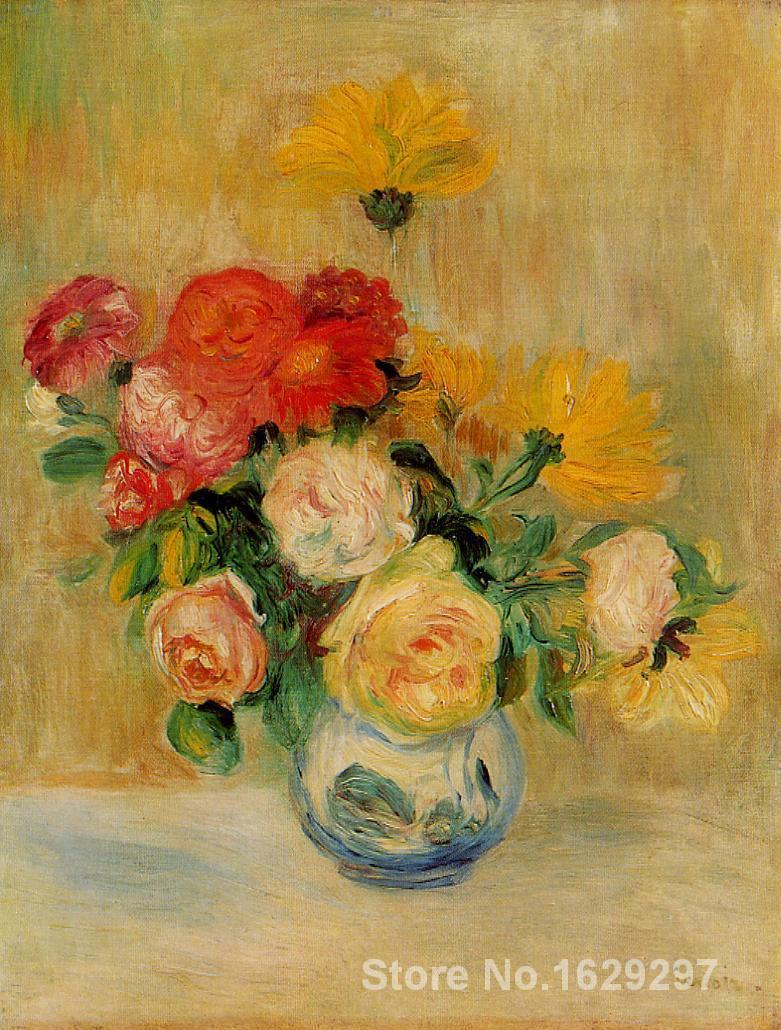 canvas oil paintings Vase of Roses and Dahlias by Pierre Auguste Renoir Reproduction art Hand-painted High qualitycanvas oil paintings Vase of Roses and Dahlias by Pierre Auguste Renoir Reproduction art Hand-painted High quality