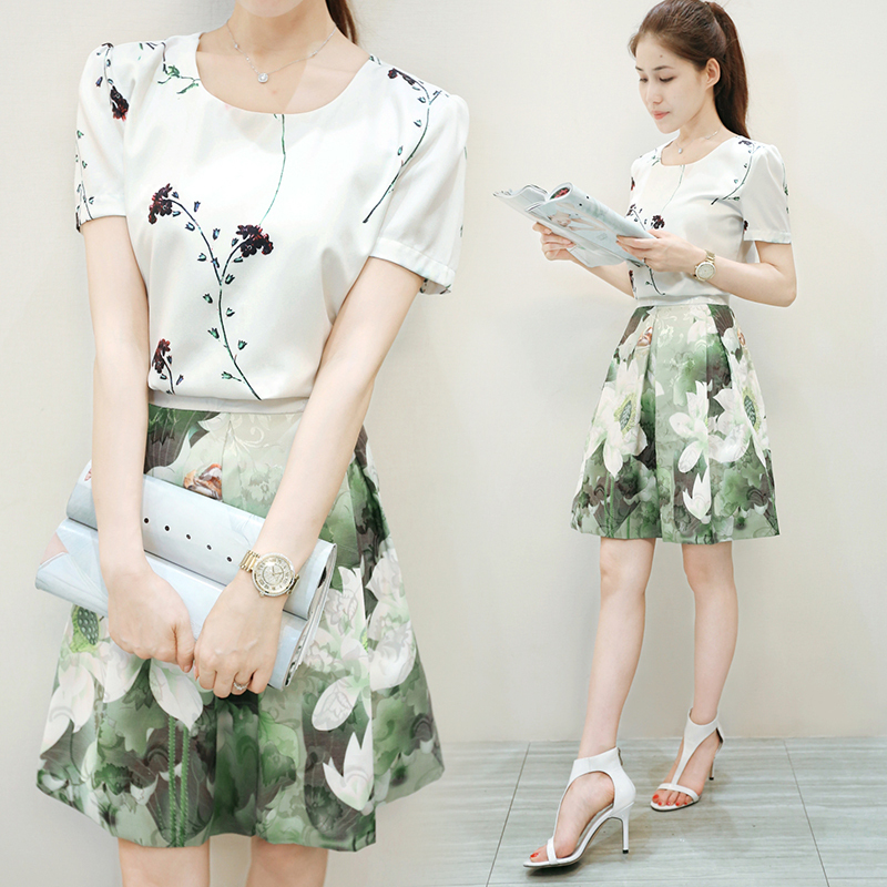 2015 new Korean Women Slim chiffon dress summer print dress lady ...