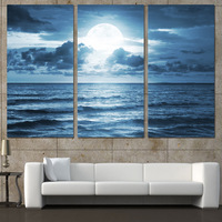 3 Panels Canvas Art Full Moon Moonlight Sea Home Decor Wall Art Painting Canvas Prints Pictures