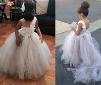 POSH DREAM White and Grey Flower Girl Dress Little White Flower Petals Girl Tutu Dress with Train Tulle Wedding Dress Couture