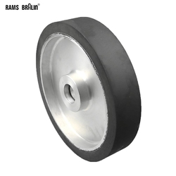 250*50mm molinillo de correa de caucho liso rueda de contacto abrasivo lijado conjunto de cinturón con rodamientos ID 12,7mm o 15mm instalado