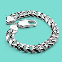 Men's 925 sterling silver bracelet charm Silver jewelry 10mm 20cm chains punk Solid silver bracelet birthday present for friend