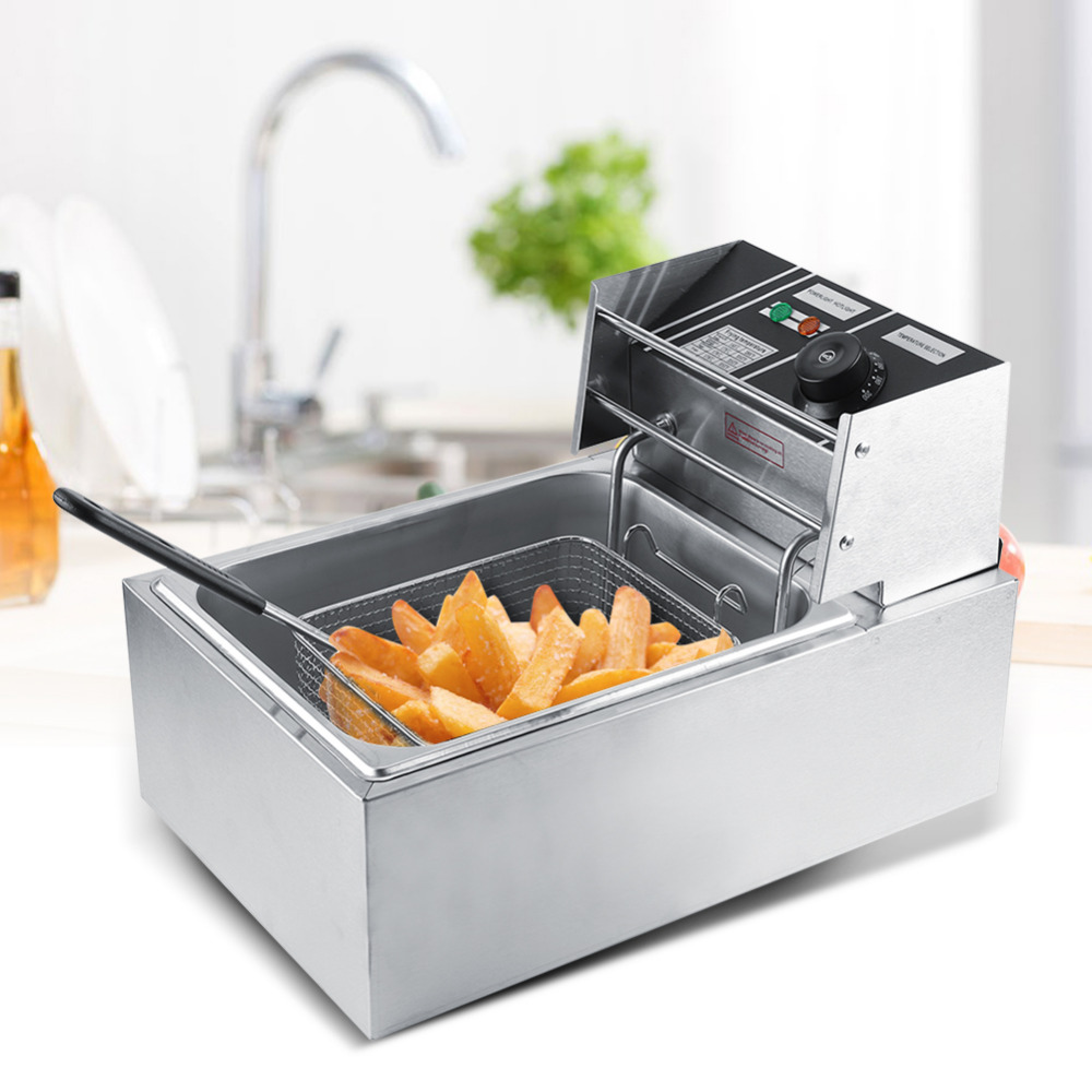 6L Stainless Steel Electric Deep Fryer with Basket for Commercial Home Use 110 240V US AU