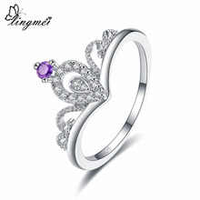 Lingmei Wholesale New Luxury Fashion Crown Shaped Jewelry Purple & White Cubic Zircon Silver Ring Size 6 7 8 9 For Women Gifts