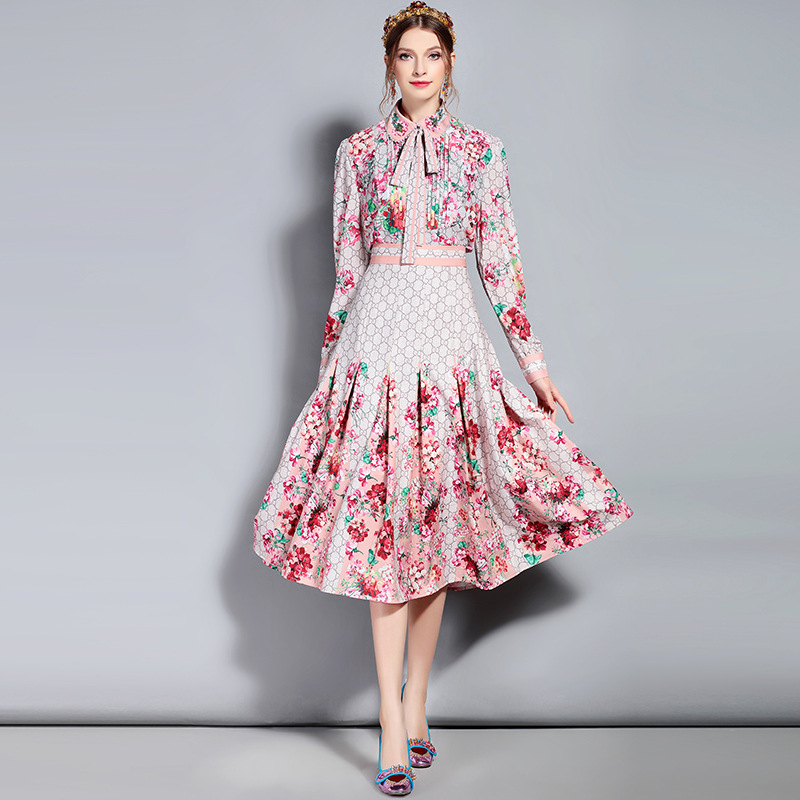 S 3XL hoge kwaliteit 2019 herfst nieuwe mode print hals kralen stropdas boog geplooide slanke pak temperament casual vrouw pak-in Sets voor dames van Dames Kleding op  Groep 1