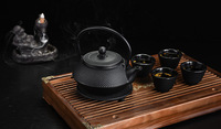 FREE SHIPPING 900ML Kungfu Tea pot Japanese Cast Iron kettle teapots set with 4 cups and 1 pot mat, Iron Bottle, Kettle, Tea Set