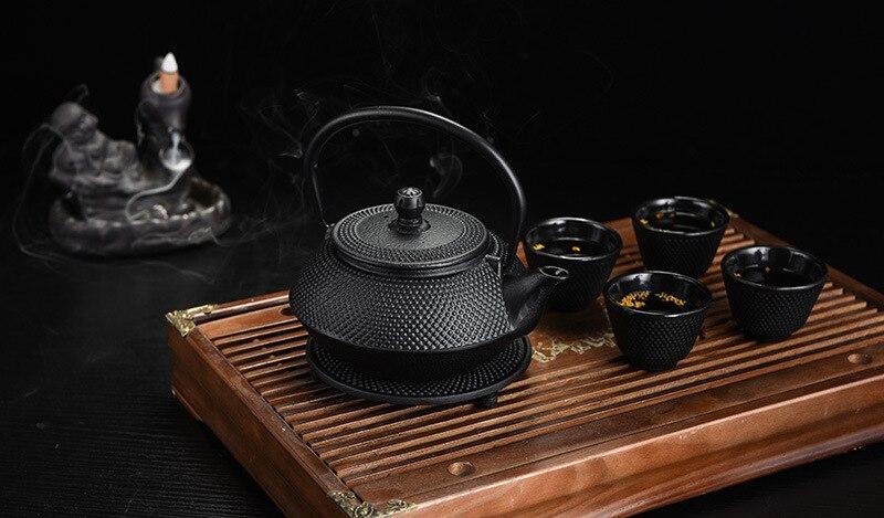 LIVRAISON GRATUITE 900 ml Kungfu théière En Fonte Japonaise bouilloire théières ensemble avec 4 tasses et 1 tapis, bouteille De fer, Bouilloire, Thé