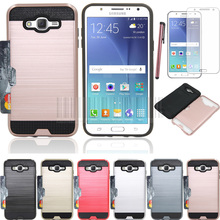 Dual Layer PC+Aluminum Hybird Brush Armor Card Holder Case Cover With Stylus+Films For Samsung Galaxy J7 J700 J700F J700H