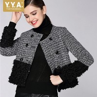 Brand 2018 New Womens Tweed Jacket Spliced Double Breasted Office Ladies Short Coat Plaid Autumn Jacket Women O Neck Streetwear