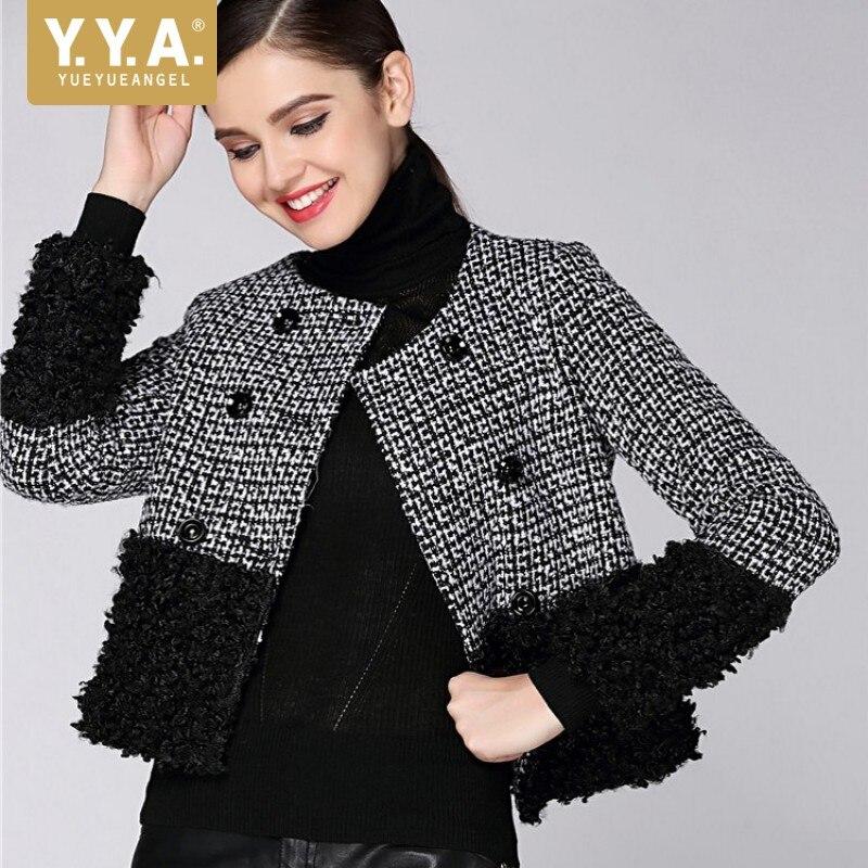 Marque 2019 Nouvelles Femmes Tweed Veste Spliced Double Boutonnage Bureau Dames manteau court Plaid veste d'automne Femmes O Cou Streetwear