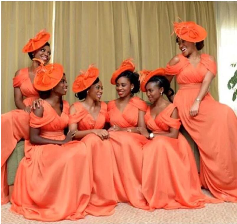 Orange Color Bridesmaid Dresses Long 2016 A Line V Neck Plus Size Sweep Train Bridal Bridesmaids Formal 2017 In From Weddings