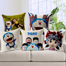 Doraemon pillow cover, cute Japanese anime cartoon Doraemon cat throw pillow cover pillowcase Wholesale