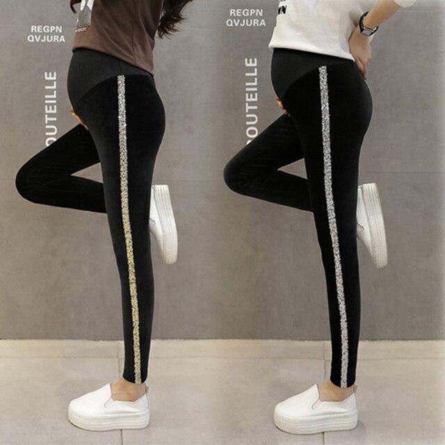 b52e02cc4d498 Maternity Pencil Velvet Slim Pants Tight Skinny Pregnancy Sweatpants For Pregnant  Women Maternity Nursing Pencil Trousers