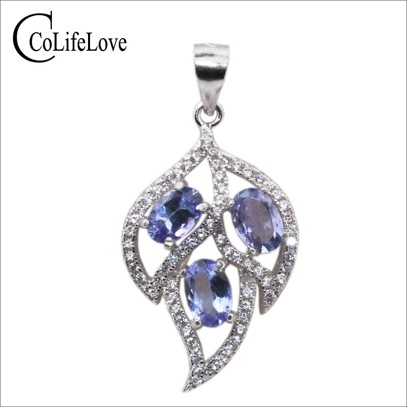 Tanzanite Necklace Tanzanite: Fashion Silver Leaf Pendant 3pcs 4*6mm Natural Tanzanite