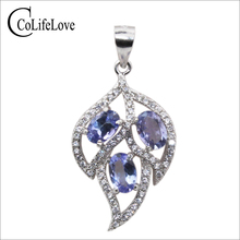 Fashion silver leaf pendant 3pcs 4*6mm natural tanzanite necklace pendant solid 925 sterling silver tanzanite pendant for lady