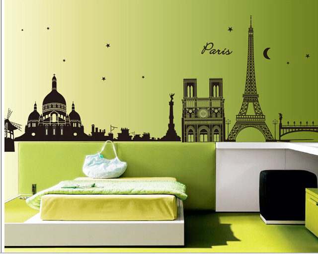 Charming Eiffel Tower Mural Wallpaper Wall Decals Vinyl Stickers Home Decor Wall  Stickers For Bedroom Wedding Home