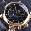 Forsining Luxury Moonphase Calendar Concealed Dial Black Gold ShangHai Quality Movement Mens Mechanical Watches Top Brand