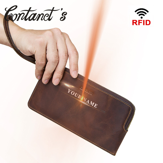 4e402a2a7ad7 US $22.9 40% OFF|Vintage Wallets Men Crazy Horse Leather Wallet Zipper Long  Purses RFID Wristlet Clutch Coin Purse Card Holders Big Capacity-in ...