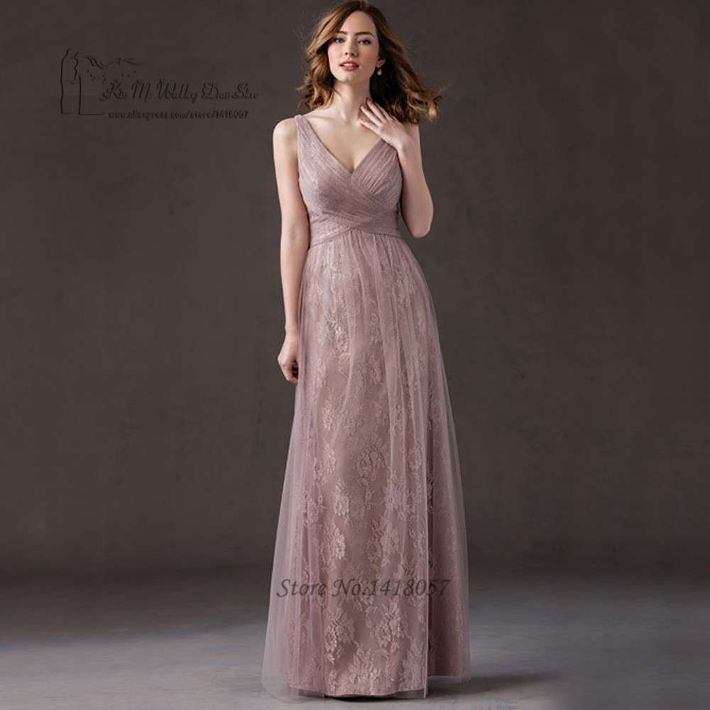 Old Pink Lace   Bridesmaid     Dresses   Long Floor Length Cheap Wedding Party   Dress   2017 Robe Demoiselle d'honneur Custom Made Vestido