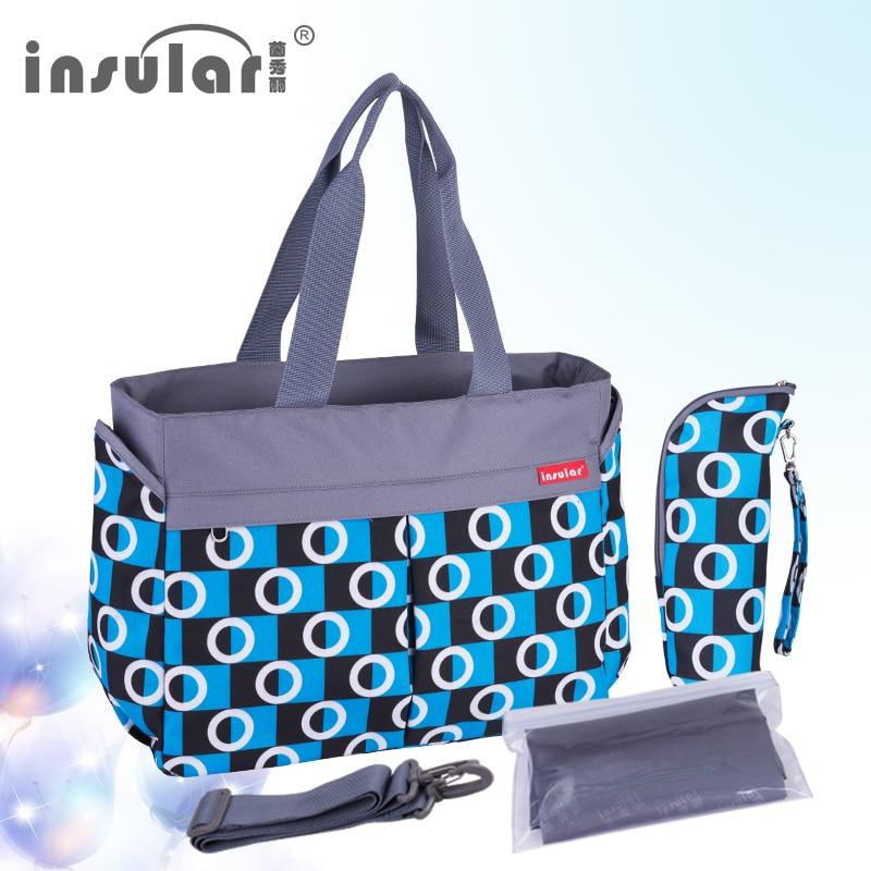 Insular Multifunctional Baby Stoller Bag Nylon Waterproof Diaper Bags Fashion Printed Maternity Bag Larger Capacity Nappy Bags