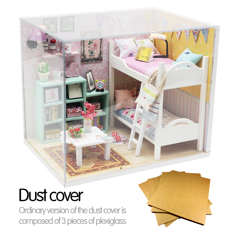 Doll House Miniature Diy House Kit Plus Dust Proof Creative Room Bunk Bed With Furniture For Romantic Valentine S Gift Doll House Accessories Aliexpress
