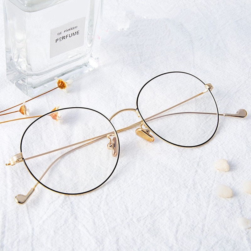 Higodoy Fashion Round Metal Women Eyeglasses Spectacle Frame Men Myopia Clear Lens Computer Glasses Frame