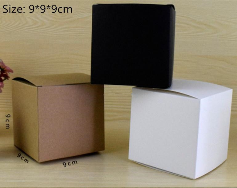 9*9*9cm White High Quality Kraft Paper Collection Pack Box Handle Soap Business Card DIY Party Gift Cupcake Cosmetic Packing Box