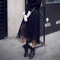 Plus Size 2017 New Hot Spring Summer Autum N Europe And America Lace Skirt Long Perspective
