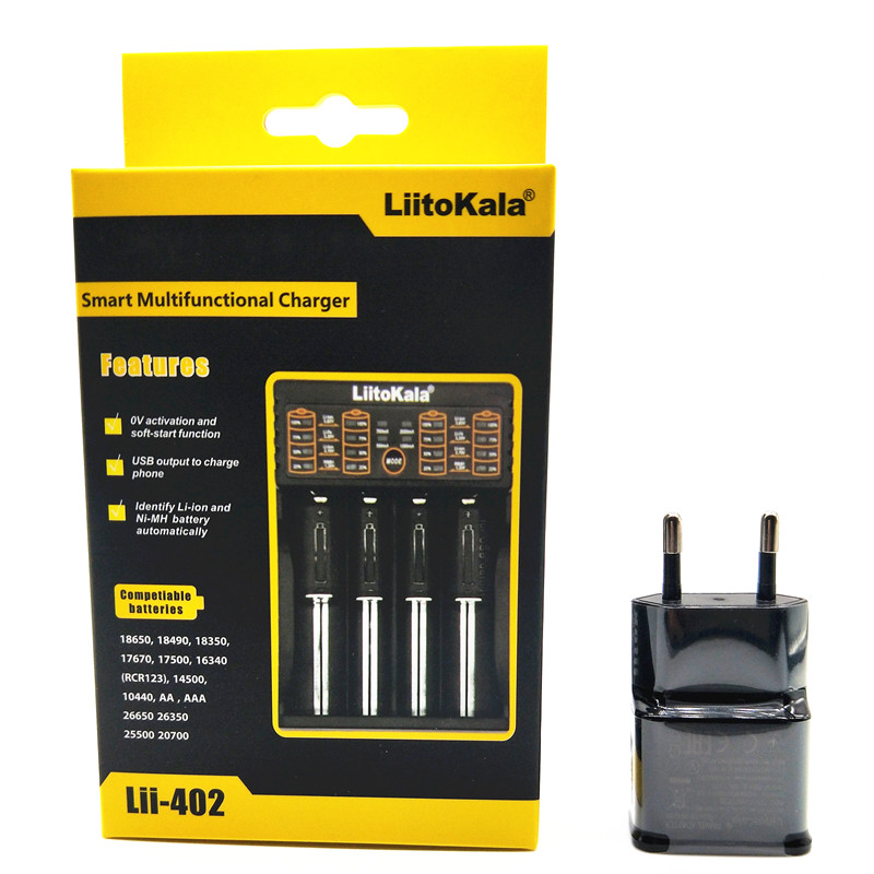 NEW LiitoKala Lii-100 lii-202 Lii-402 18650 Battery Charger For 26650 16340 RCR123 14500 LiFePO4 1.2V Ni-MH Ni-Cd 5V 2A USB liitokala lii 202 usb intelligent battery charger with power bank function for ni mh lithium for 18650 26650 18350 14500 lii202