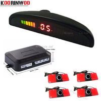 LED Display Car Vehicle Reverse Backup Radar System 4 Parking 16mm Sensors Drive Safe Black White