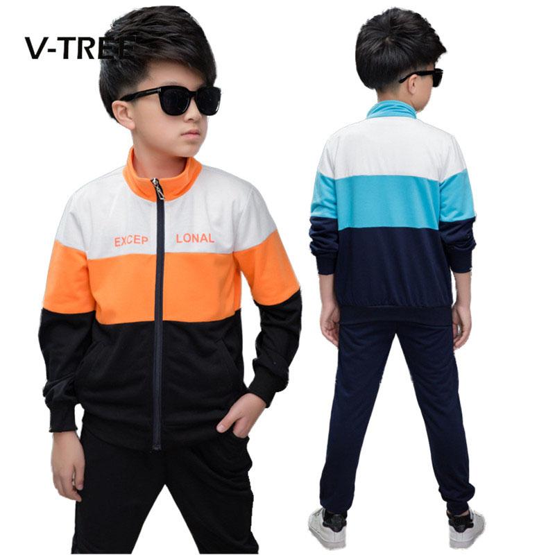 V-TREE Boys Clothing Sets Kids Suit Sets Sports Clothes For Boy Teenage School Kids Children Tracksuit 8 10 12 Years kids tracksuit boys clothing 4 13t children s sports suits hooded children clothing suit for boys teenage girls clothing fashion