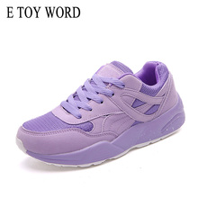 купить E TOY WORD Women Sneakers Purple Fashion Breathable Walking Mesh Lace Up Women Shoes 2019 Tenis Feminino Casual Shoes Female дешево